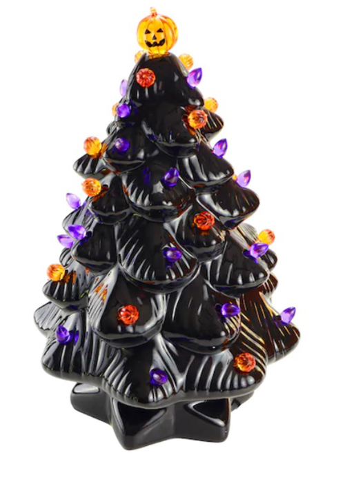 14 inch black ceramic halloween tree
