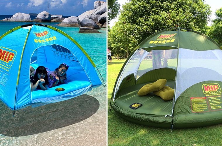 Floating inflatable tent