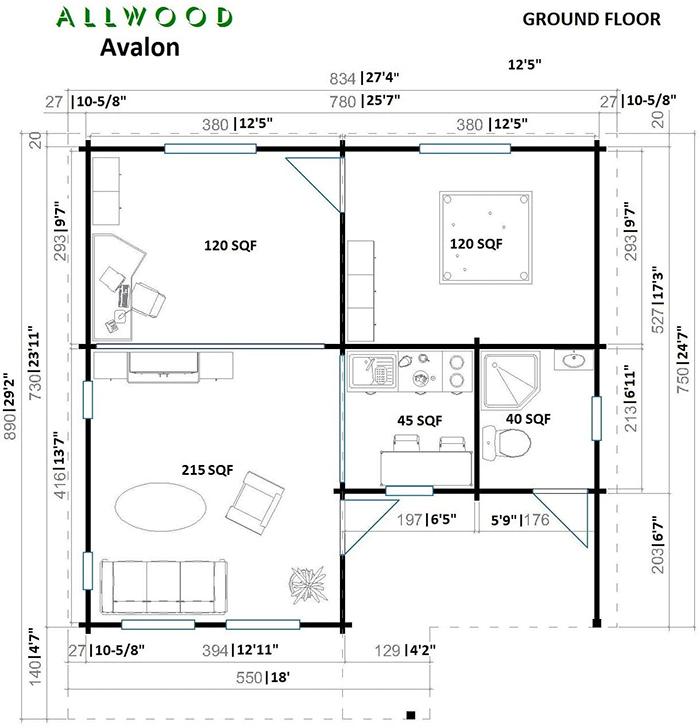 allwood cabin kit ground floor floor plan