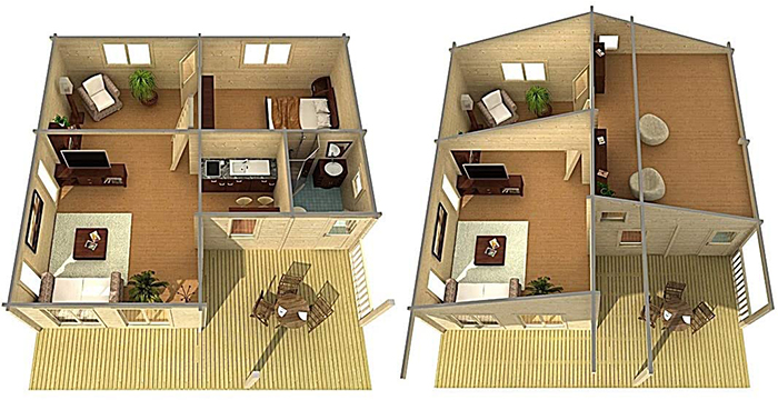 allwood cabin kit without loft and with loft