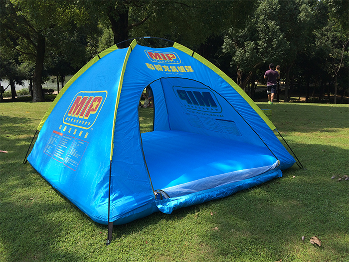 blue inflatable floating tent door