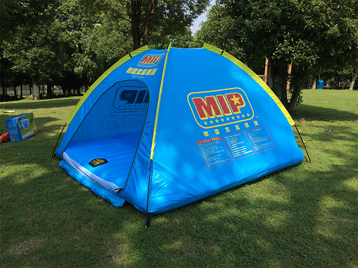 blue inflatable floating tent