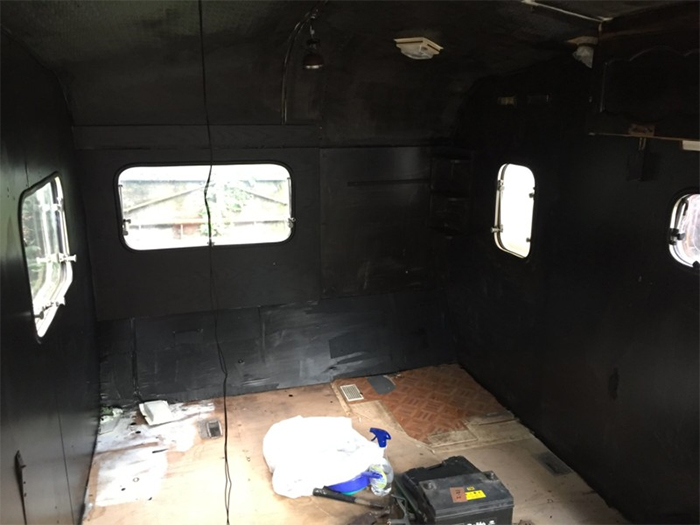 camper trailer interior blacked out