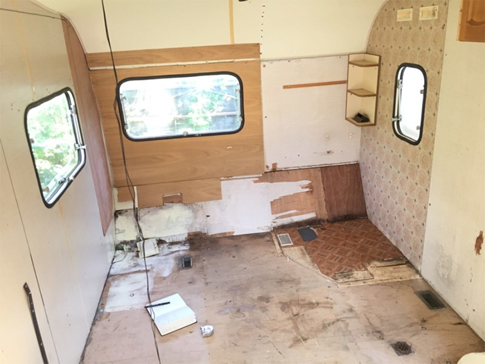 camper trailer interior gutted