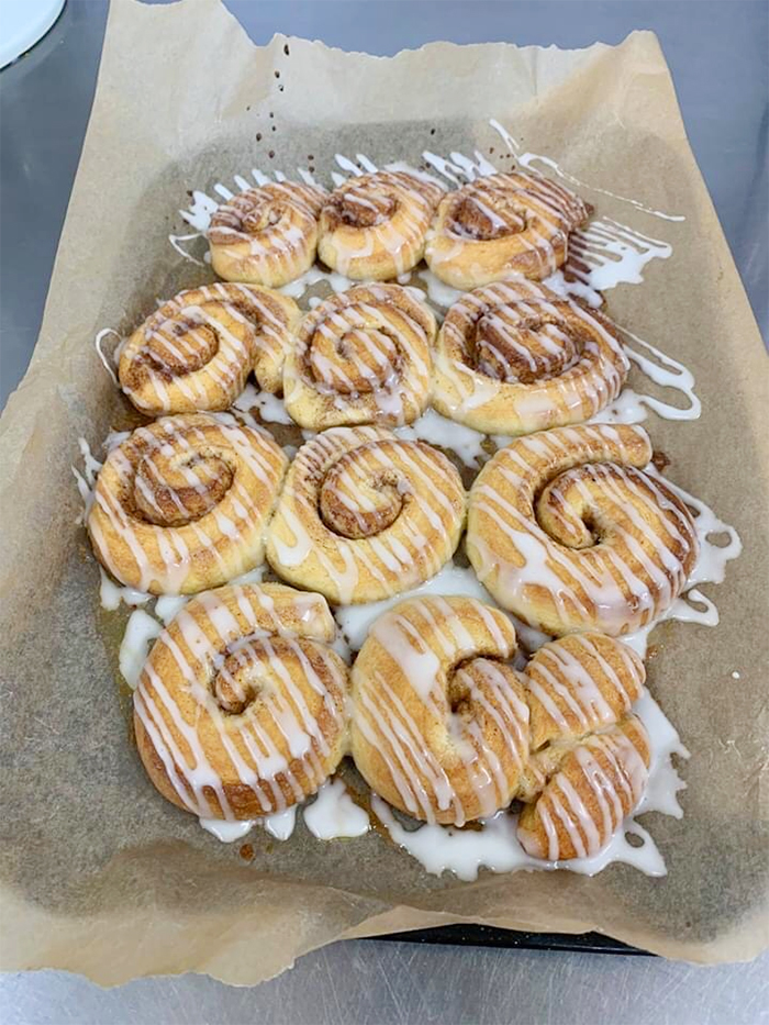 care home head chef dishes brioche cinnamon rolls