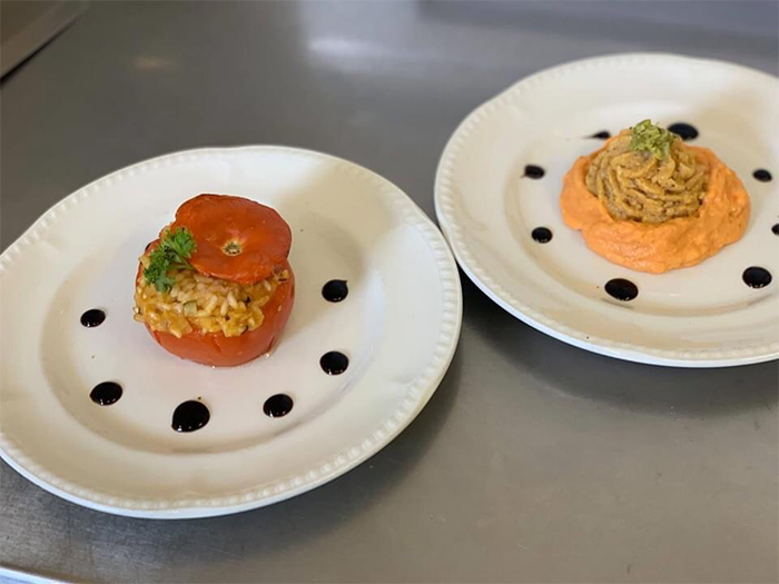 care home head chef dishes stuffed tomatoes
