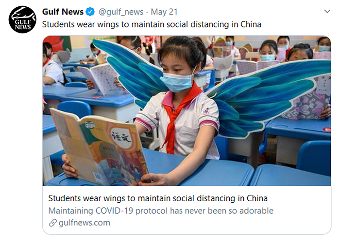 chinese students wear wings physical distancing