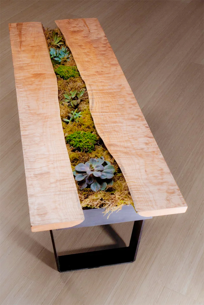 coffee table with built-in center planter