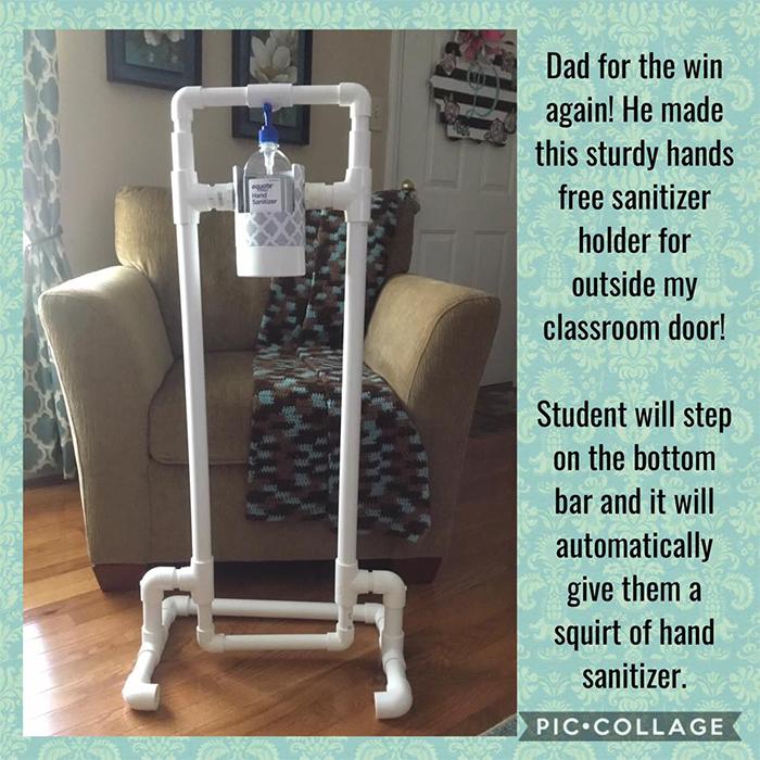 dad makes hand sanitizer dispenser outside classroom door