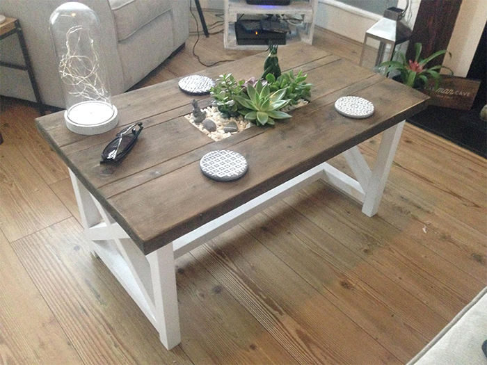 dining table with planter in the middle
