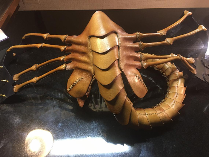 facehugger face mask leather replica
