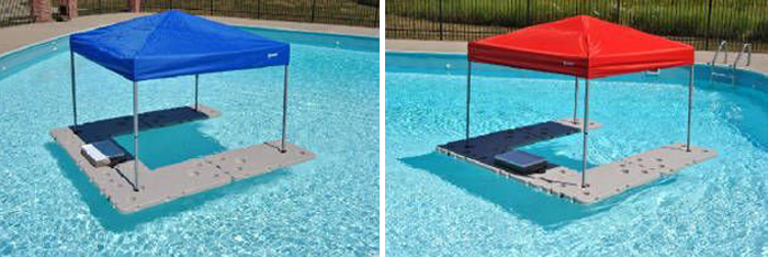 floating bar with blue and red canopy
