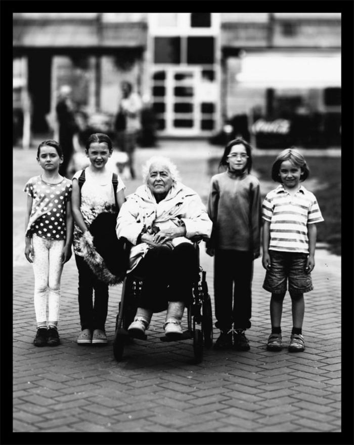 giant camera on wheels prints kids and grandma