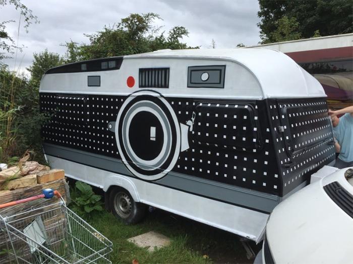 large camera on wheels