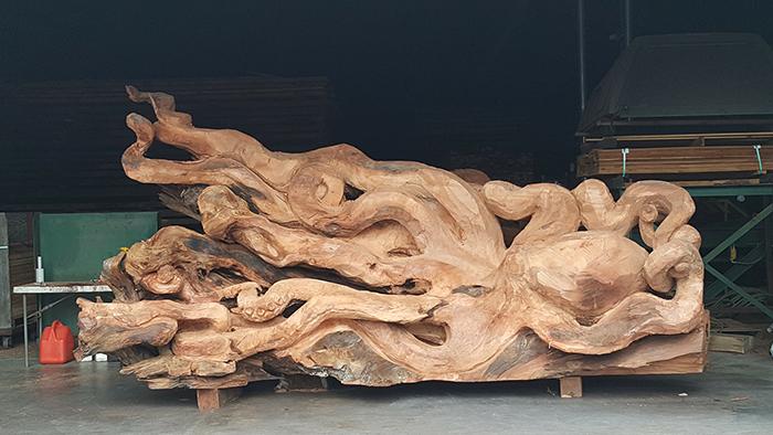 giant sea creature wooden sculpture work in progress