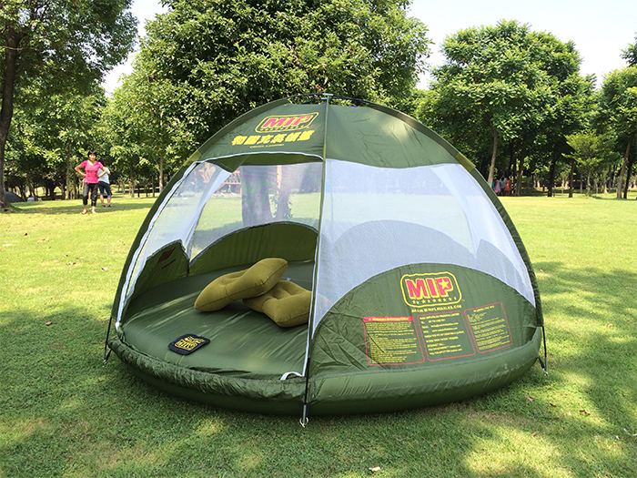 green camping tent for land or water