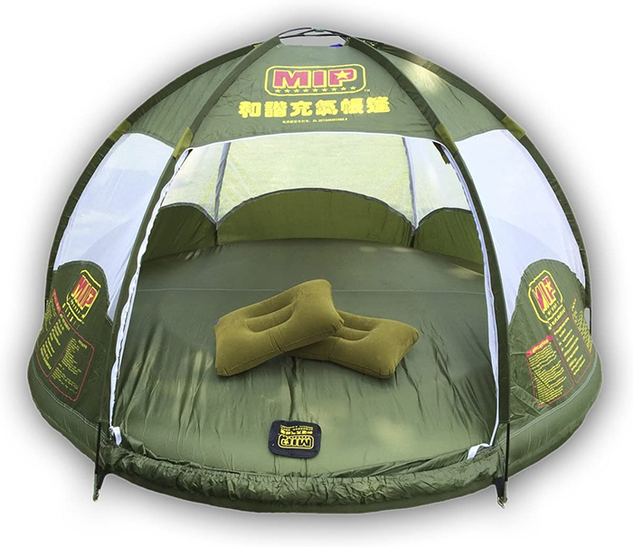 green inflatable floating tent