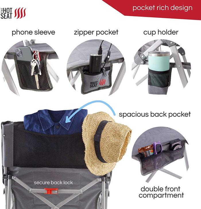 heated camping chair pocket add-ons