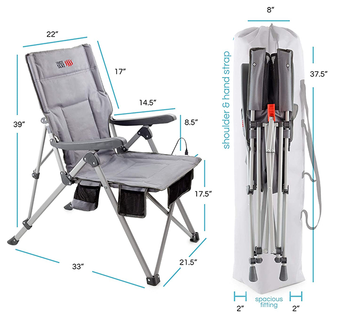 heated folding chair dimensions