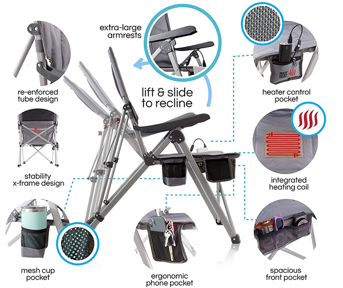 heated folding chair features