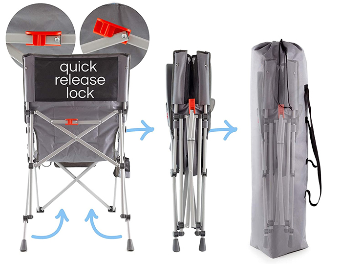 heated folding chair quick release lock