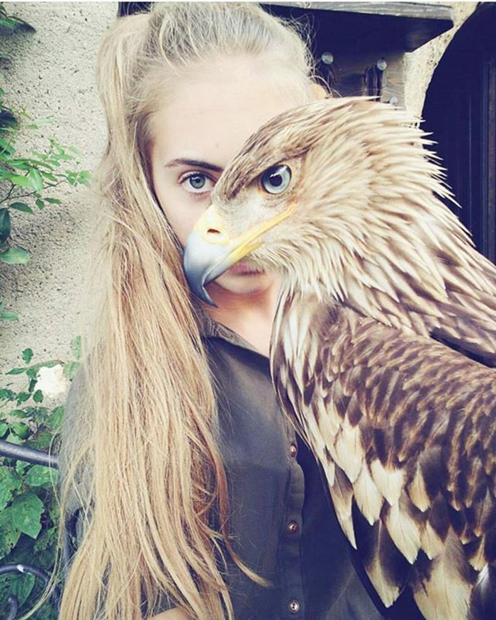 lady and her eagle
