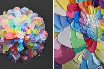 layered paint 3d flowers