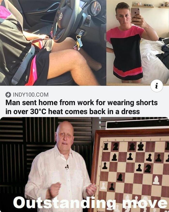 man comes back wearing a dress