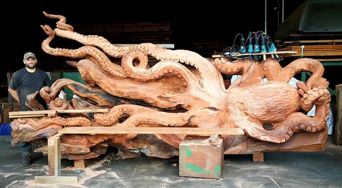 massive octopus carving by jeffrey michael samudosky