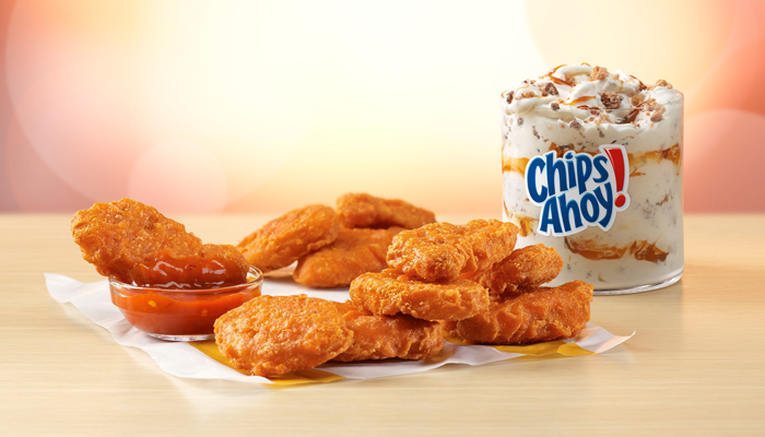 mcdonalds spicy chicken nuggets and chips ahoy mcflurry