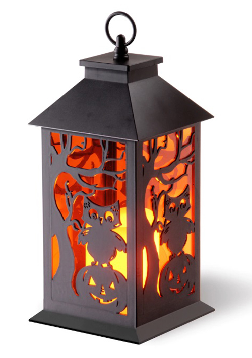 michaels halloween collection 12 inch owl and pumpkin lantern with led candle