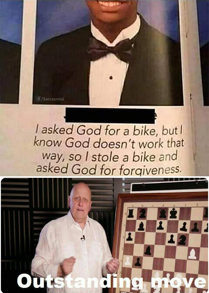 outstanding move meme jokes asked god for a bike
