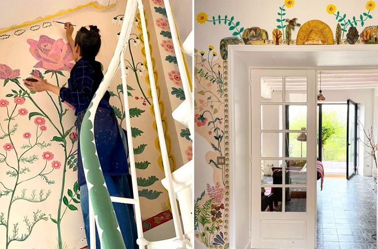 painting flowers on walls