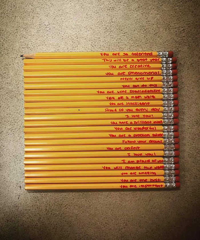 pencils with encouraging words of affirmation from a thoughtful parent