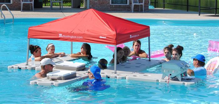 people having pool party