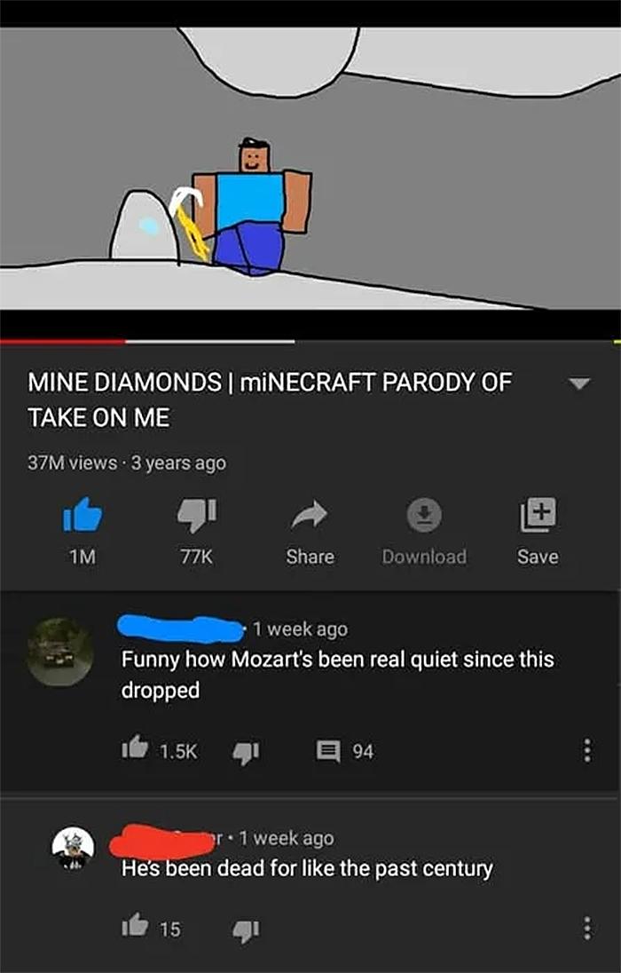 people who missed the joke mozart is dead