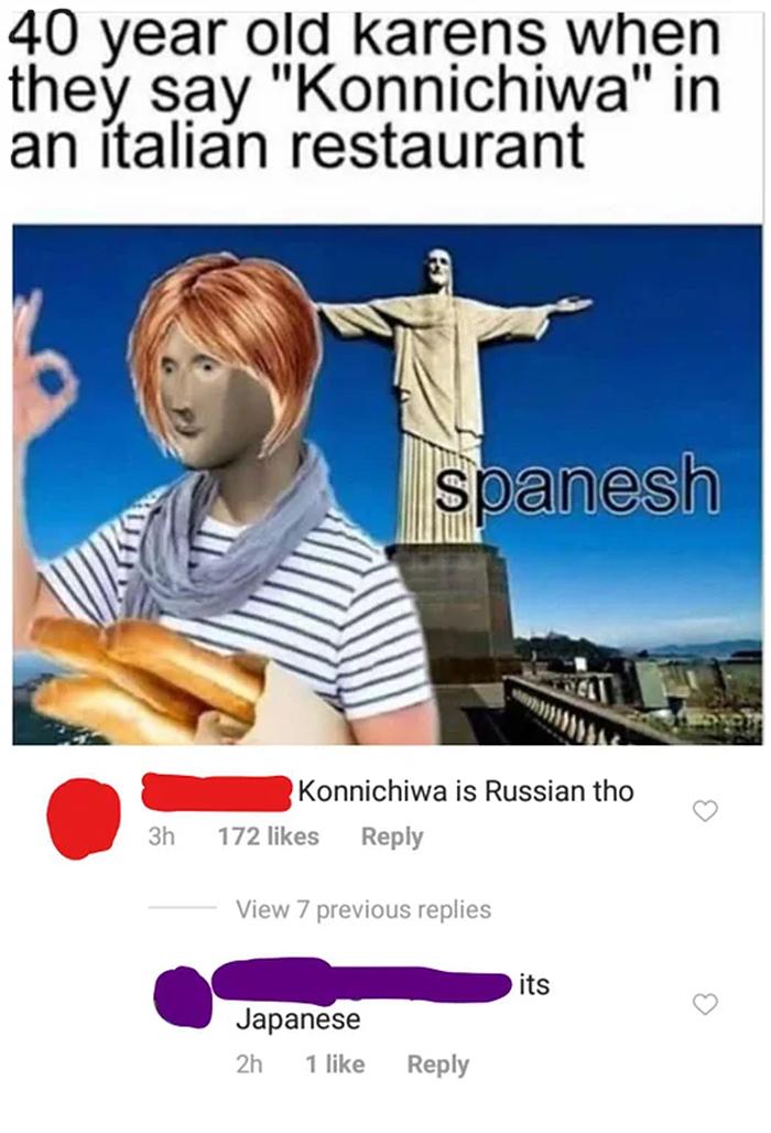 salty satire karens saying konnichiwa