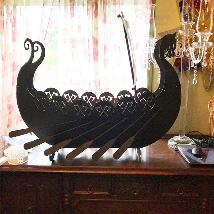 scandinavian longship metal replica decor