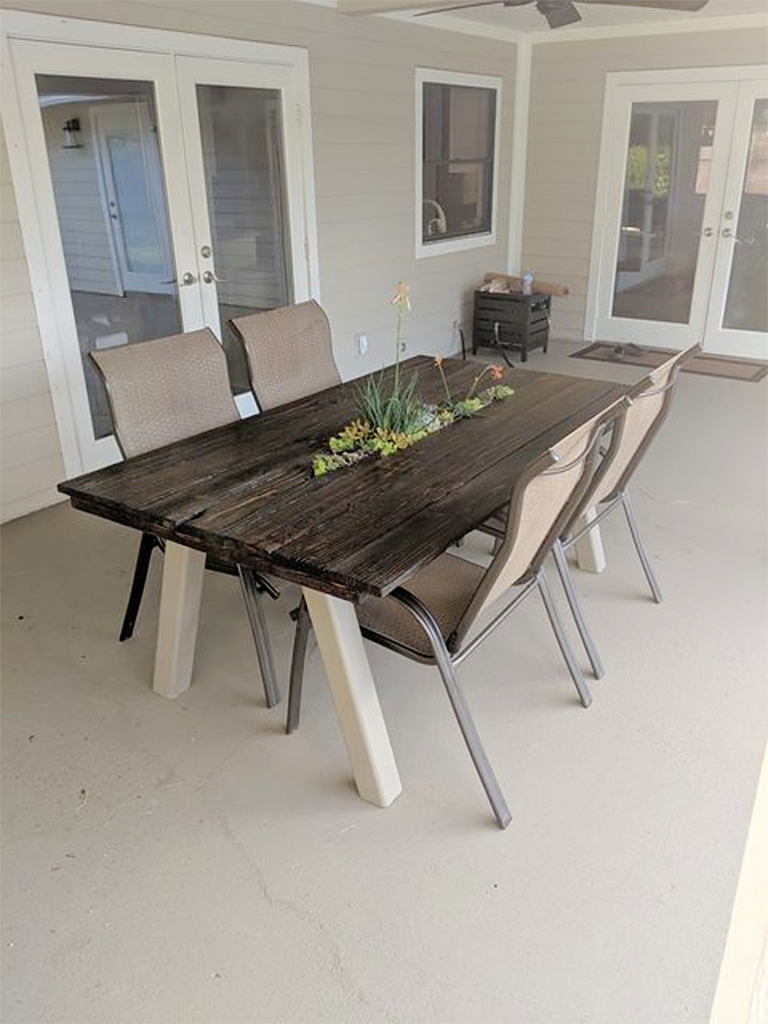 table with built-in succulent gardens