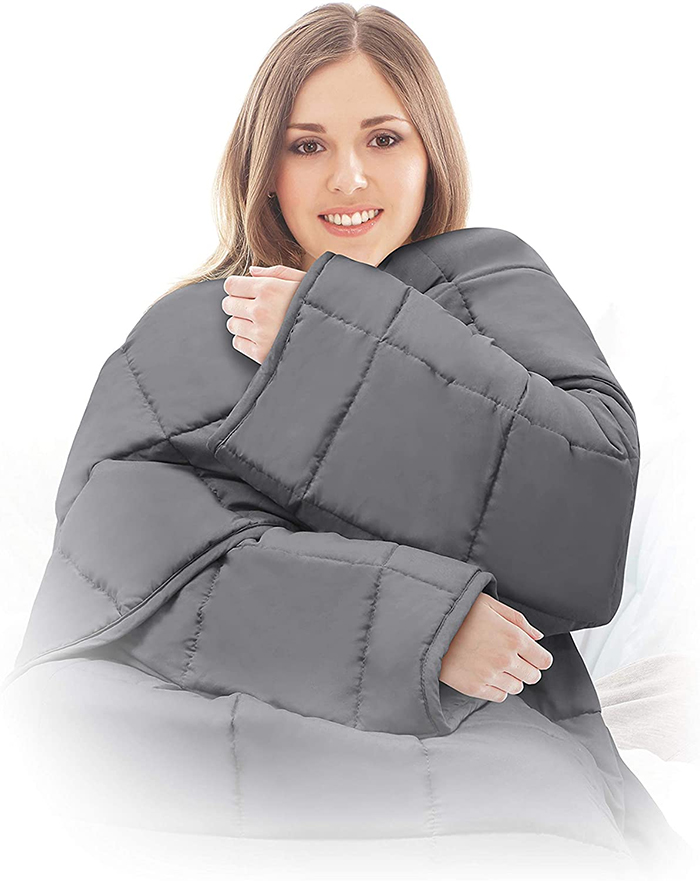 therapeutic weighted blanket with sleeves