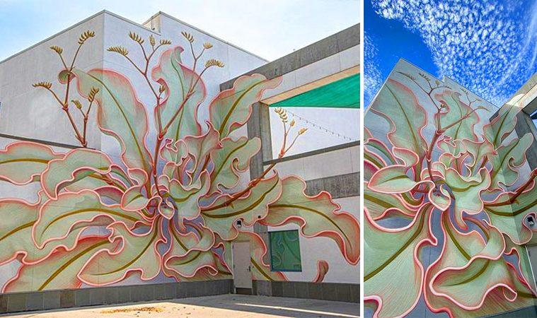 Giant flower mural