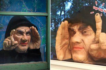 Halloween peeper tapping on window