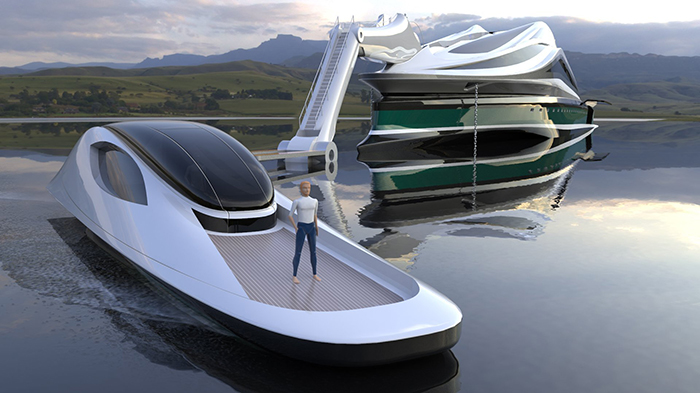 avanguardia luxury electric yacht concept with tender detached