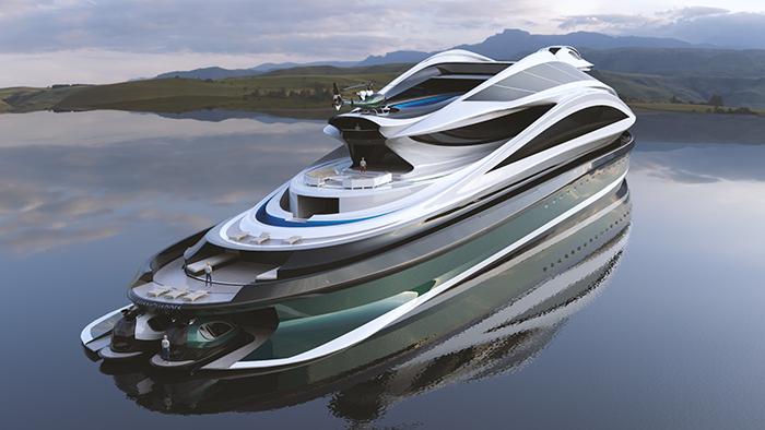 avanguardia swan-shaped luxury electric yacht concept