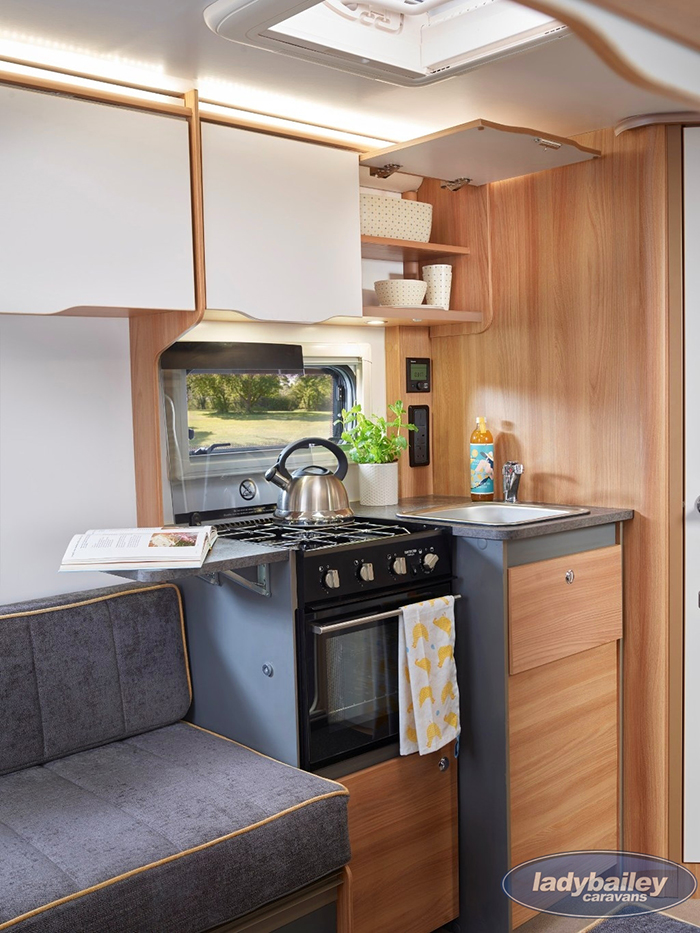 bailey discovery d4-2 camper trailer kitchen area