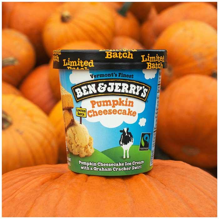 ben & jerry's pumpkin cheesecake ice cream with pumpkins in the background