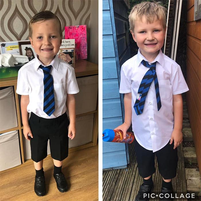 boy first day of school transformation