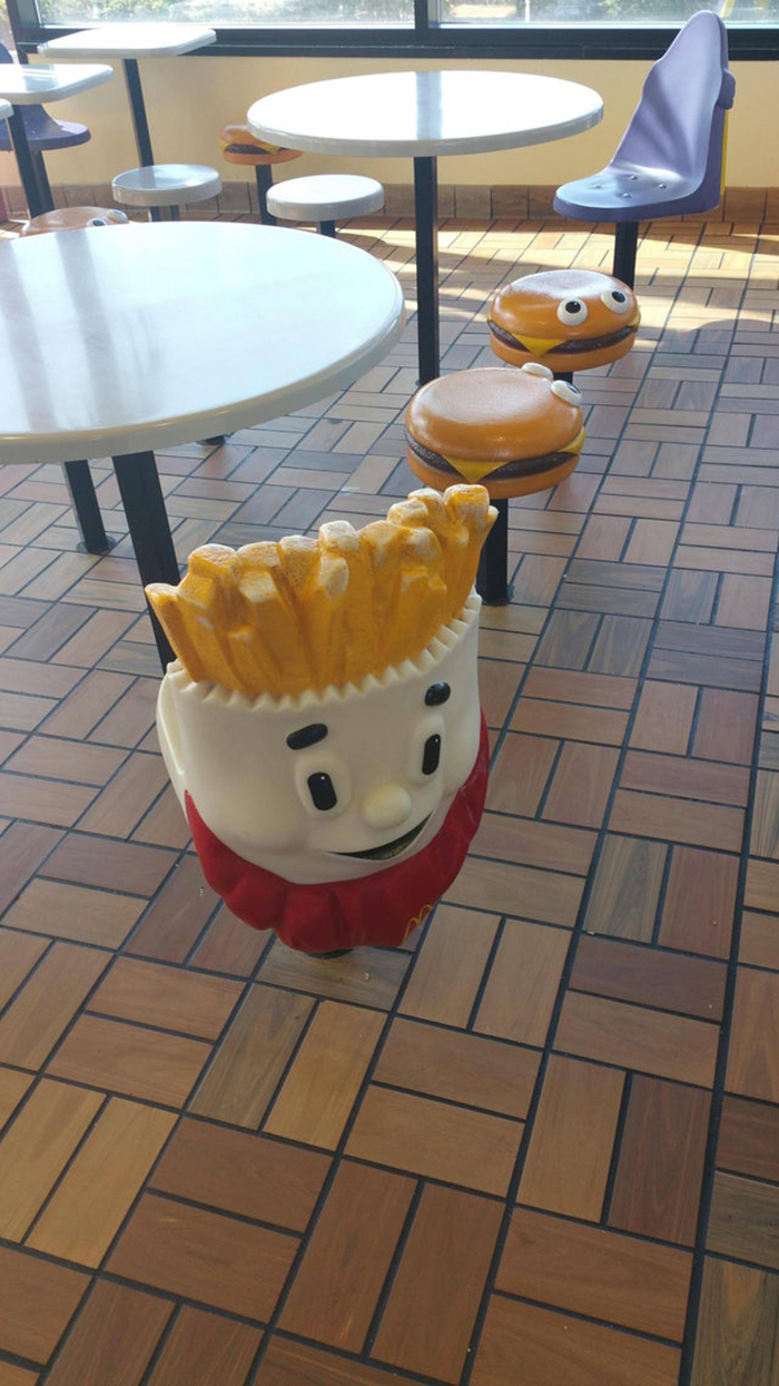 burger and fries seats at a fast food chain
