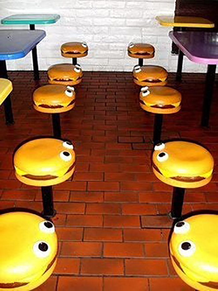 burger seats in a fast food chain