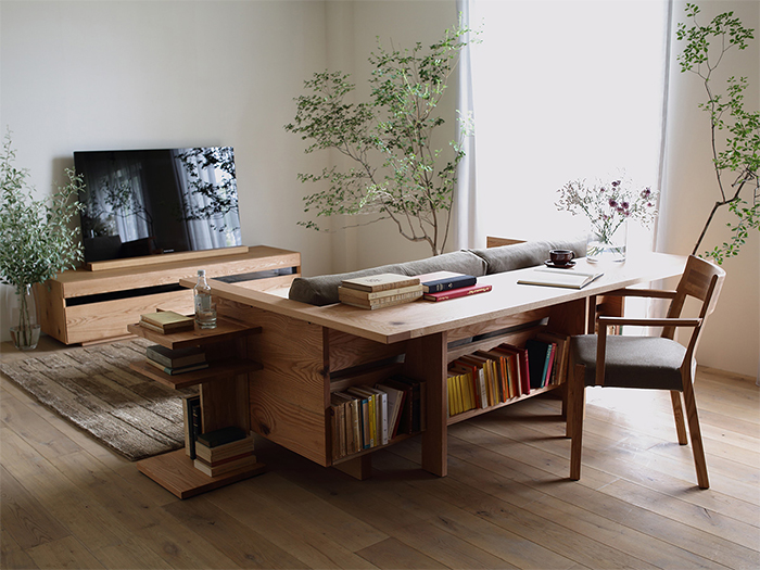 caramella counter sofa with bookshelves